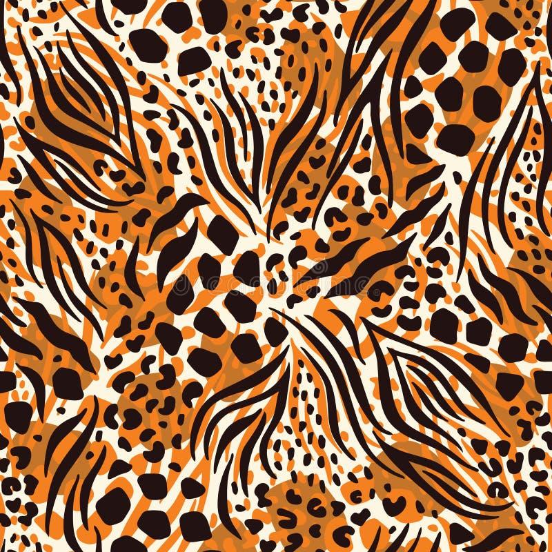 摘要手拉的联合的动物皮毛传染媒介无缝的样式 米黄,橙色,布朗毛皮 r 向量例证