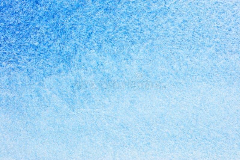 摘要手拉的蓝色水彩背景 在湿纸的水彩 库存例证