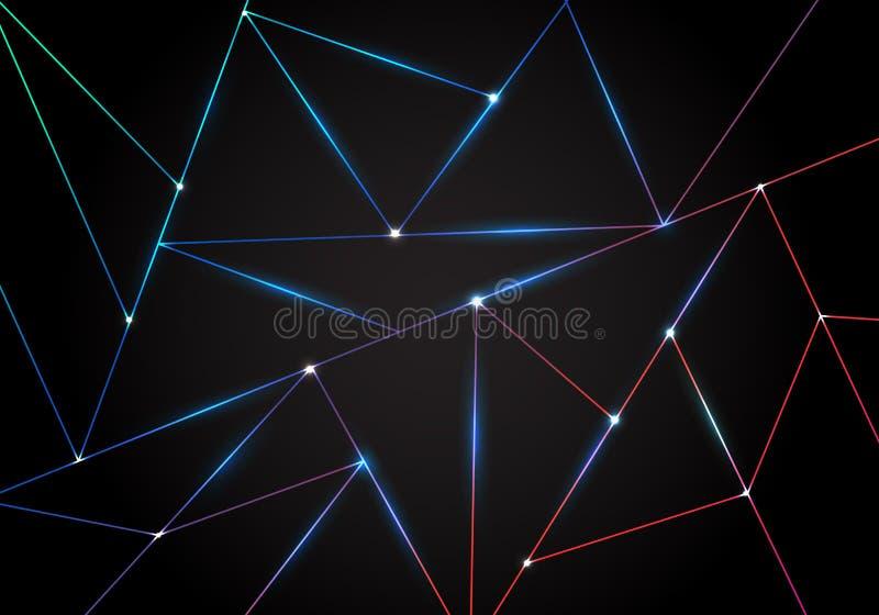 摘要技术多角形样式和黑三角激光线与照明设备在黑暗的背景 几何低多角形 向量例证