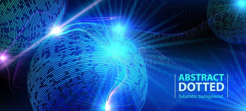 摘要技术未来派蓝色霓虹辐形光爆炸作用 数字式半音元素的圈子 皇族释放例证