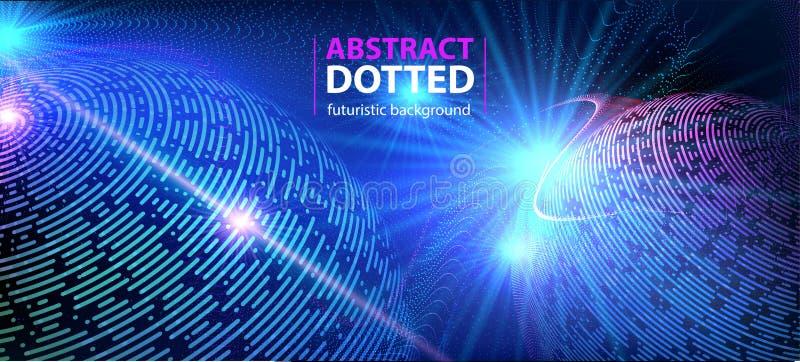 摘要技术未来派蓝色霓虹辐形光爆炸作用 数字式半音元素的圈子 库存例证