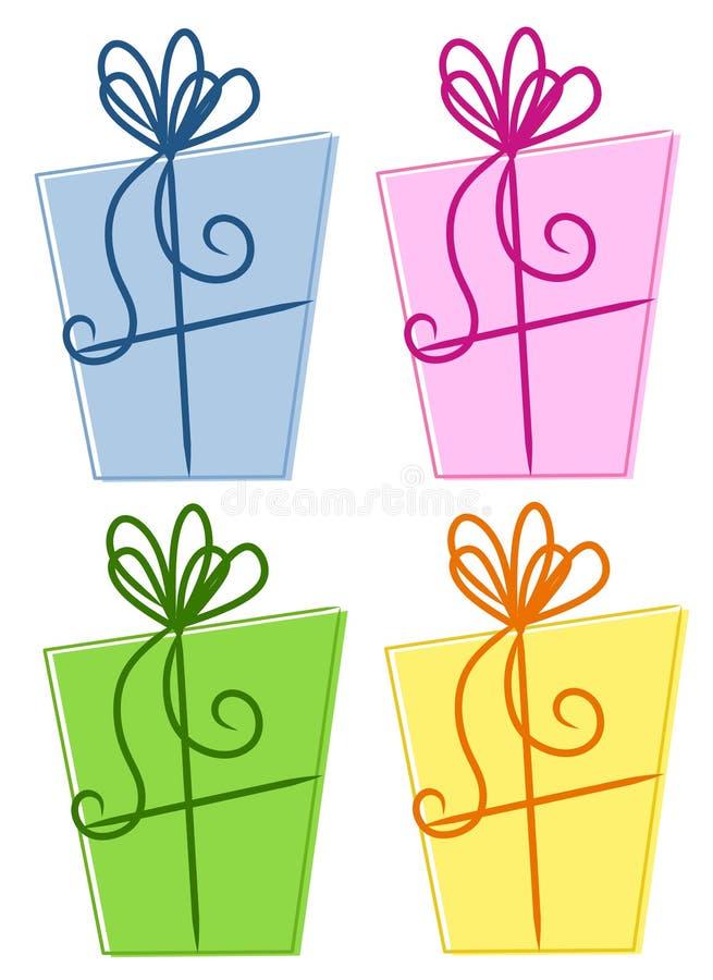 摘要把五颜六色的礼品装箱 向量例证