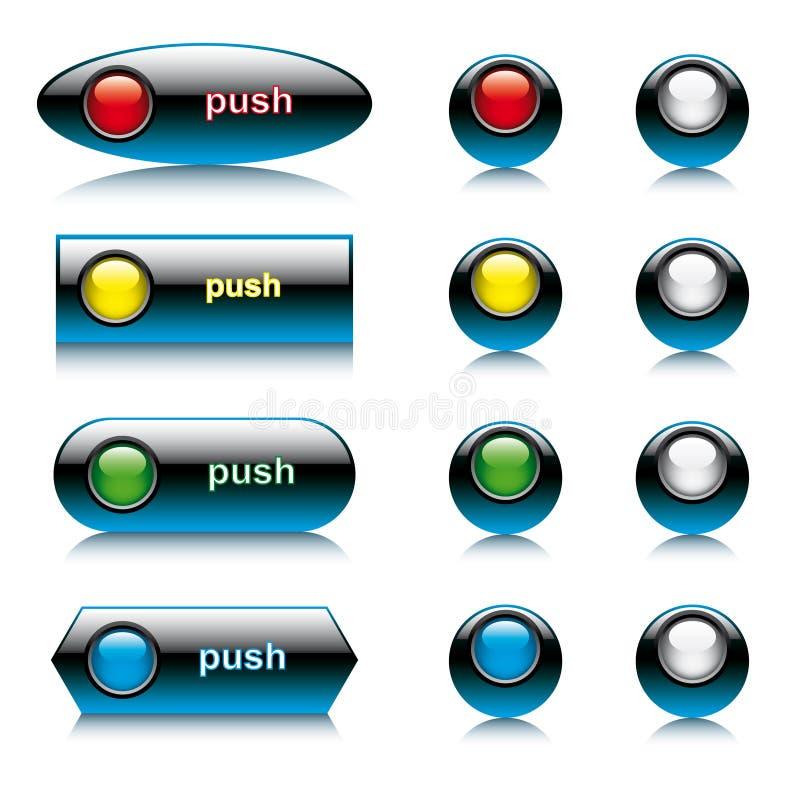 摘要按钮例证集合发光的向量 库存例证