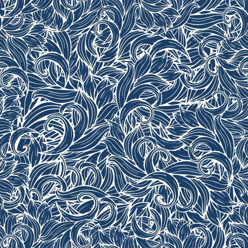 摘要挥动无缝的样式,传染媒介背景 风格化海水装饰品、蓝色漩涡和样式 设计的手图画 皇族释放例证
