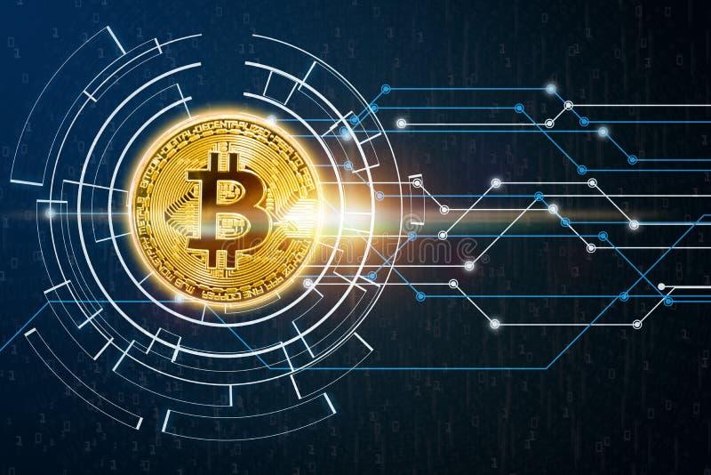 摘要数字全球网络连接和bitcoin概念 皇族释放例证