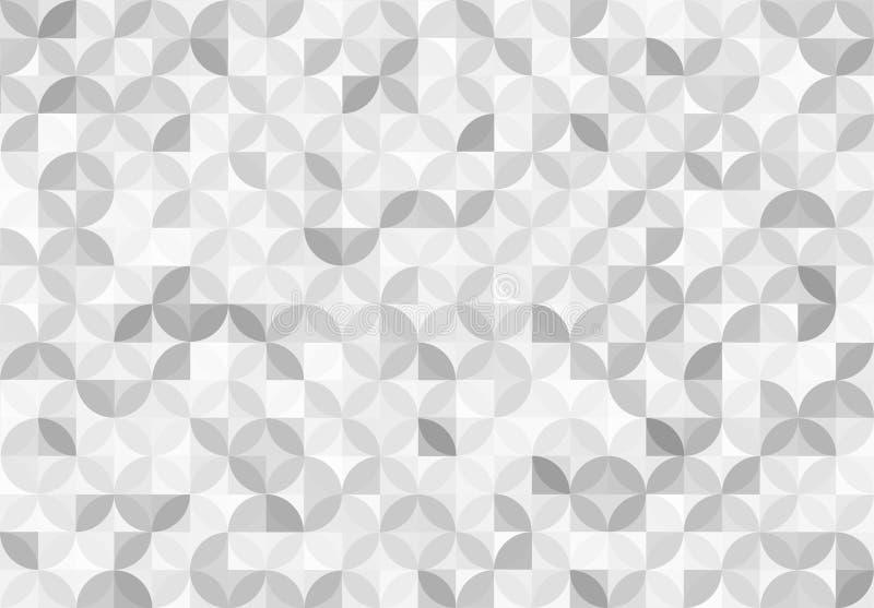 摘要无缝的发光的灰色圈子和正方形仿造背景 向量例证