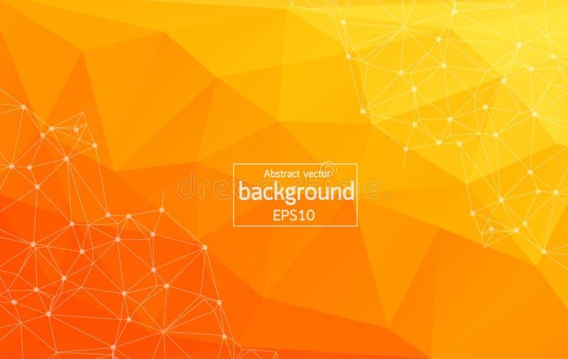 摘要明亮的橙色技术背景-与小点的被连接的线 几何轻的多角形背景分子和communi 库存例证