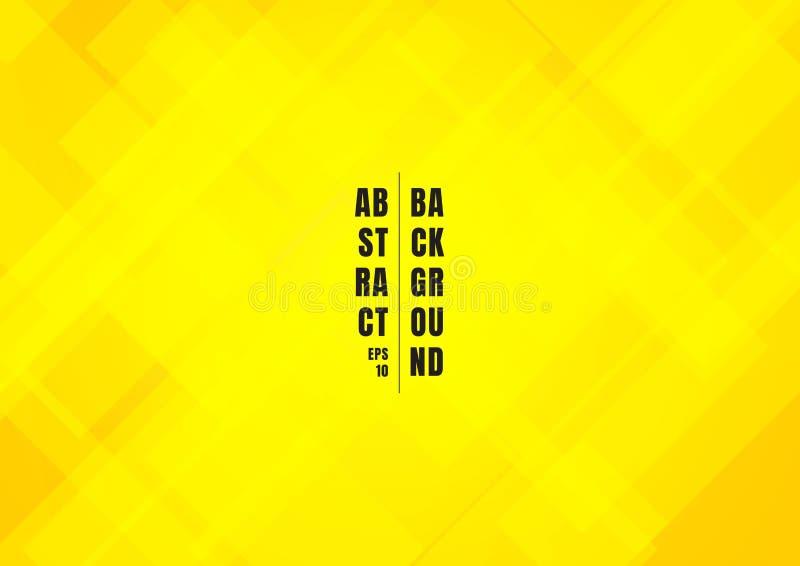 摘要明亮的黄色颜色正方形塑造几何重叠的美好的背景 向量例证