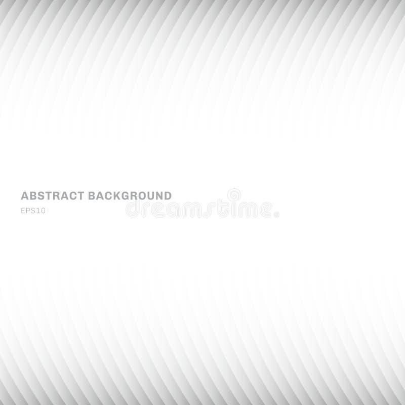 摘要曲线几何白色和灰色梯度颜色背景倒栽跳水和步行者在白色背景与拷贝空间 向量例证