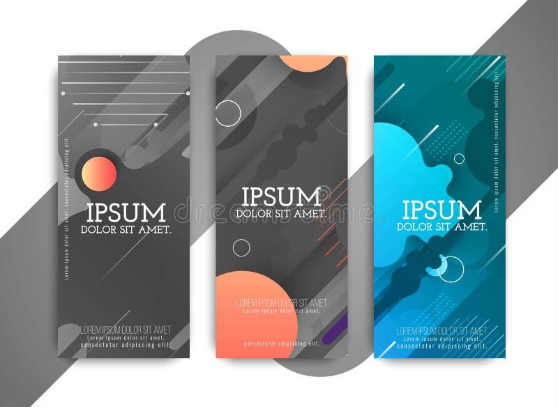 摘要未来派五颜六色的现代横幅集合 向量例证