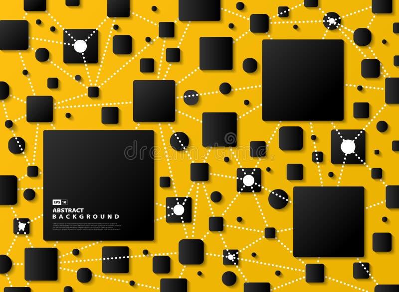 摘要梯度黑色几何在黄色技术背景 r 皇族释放例证