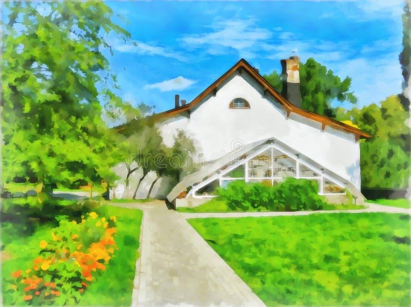 摘要水彩农村风景 数字绘画-例证 画开花的河结构树水彩绕的银行 皇族释放例证