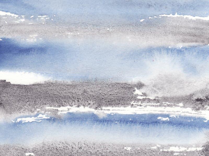 摘要水彩湿蓝色和黑镶边背景与污点 库存例证