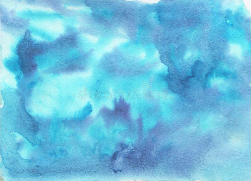 摘要水彩蓝色和天堂般的背景 库存例证