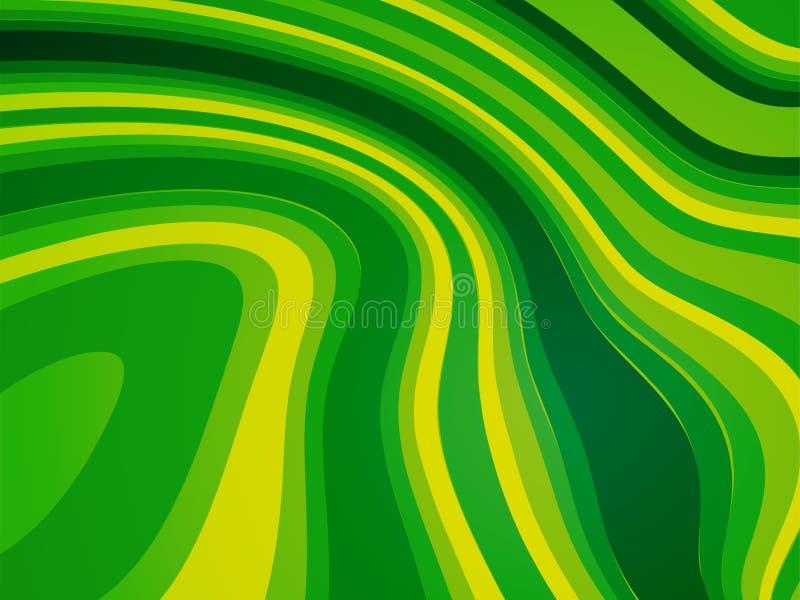摘要波浪绿色生物背景 向量例证