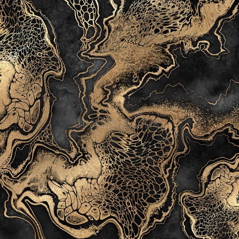 摘要液体丙烯酸酯的绘画,在黑背景,创造性的水彩墙纸,使有大理石花纹的例证的金静脉 库存例证
