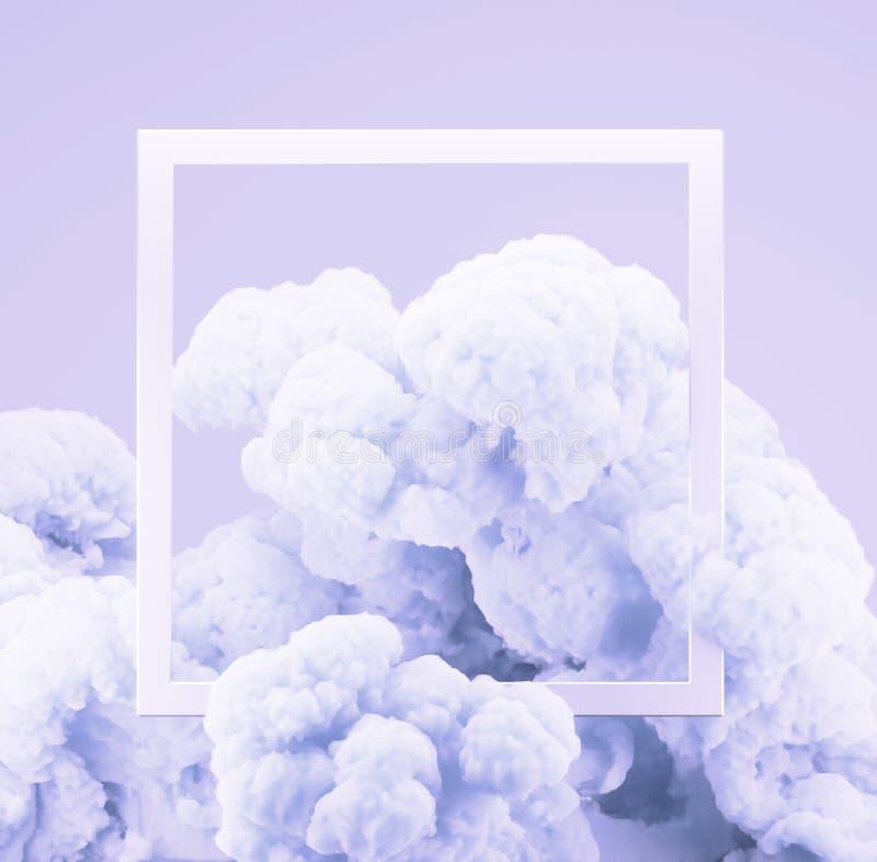 摘要淡色生存珊瑚颜色油漆烟或爆炸有淡色淡紫色背景 向量例证