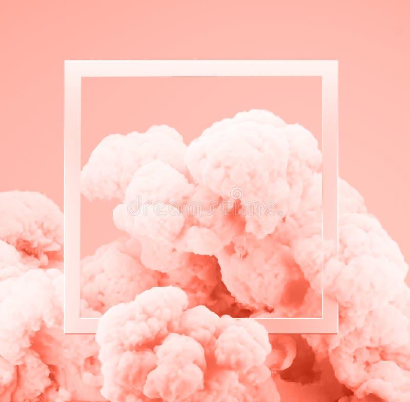 摘要淡色生存珊瑚颜色油漆烟或爆炸有粉红彩笔背景 向量例证