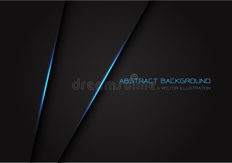 摘要深灰与在空格的蓝色灯光管制线文本设计现代豪华未来派背景传染媒介的 向量例证