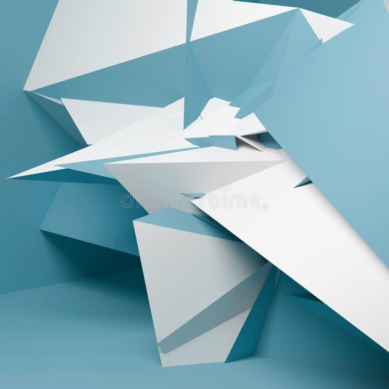 摘要混乱蓝色多角形结构3d 皇族释放例证
