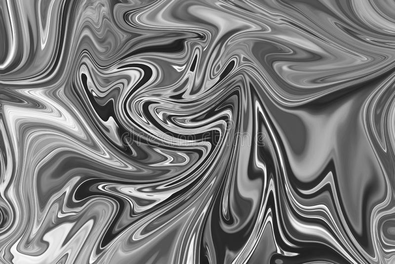 摘要灰色黑白大理石墨水样式背景 液化与黑,白色,灰色图表的抽象样式上色艺术 库存例证