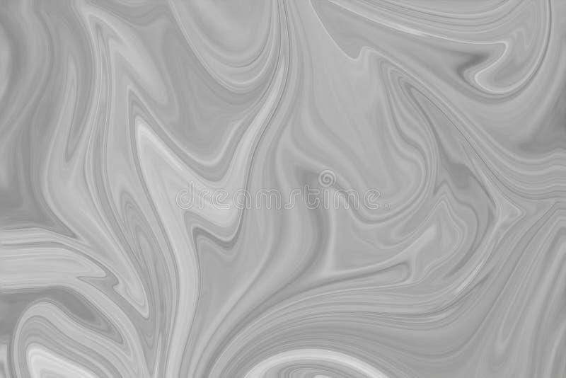 摘要灰色黑白大理石墨水样式背景 液化与黑,白色,灰色图表的抽象样式上色艺术 免版税图库摄影