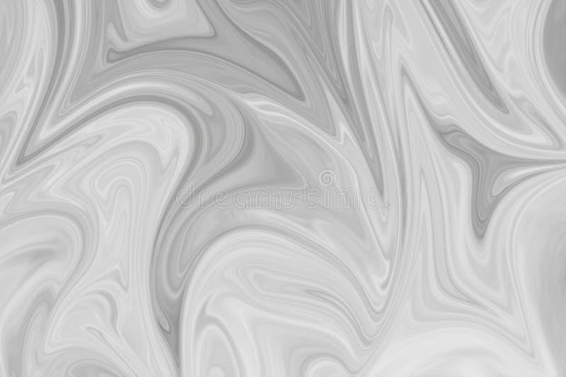 摘要灰色黑白大理石墨水样式背景 液化与黑,白色,灰色图表的抽象样式上色艺术 免版税库存照片