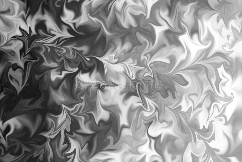 摘要灰色黑白大理石墨水样式背景 液化与黑,白色,灰色图表的抽象样式上色艺术 图库摄影