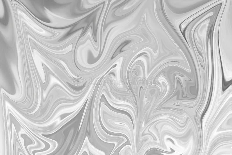 摘要灰色黑白大理石墨水样式背景 液化与黑,白色,灰色图表的抽象样式上色艺术 库存图片