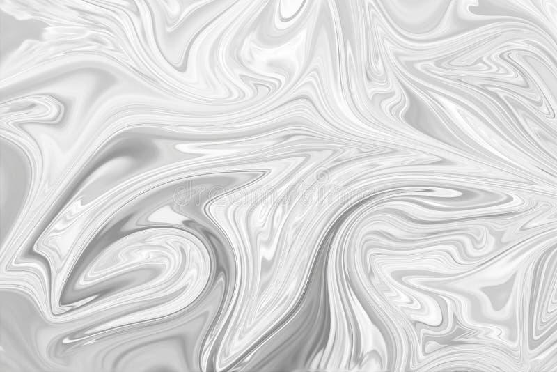 摘要灰色黑白大理石墨水样式背景 液化与黑,白色,灰色图表的抽象样式上色艺术 免版税库存图片