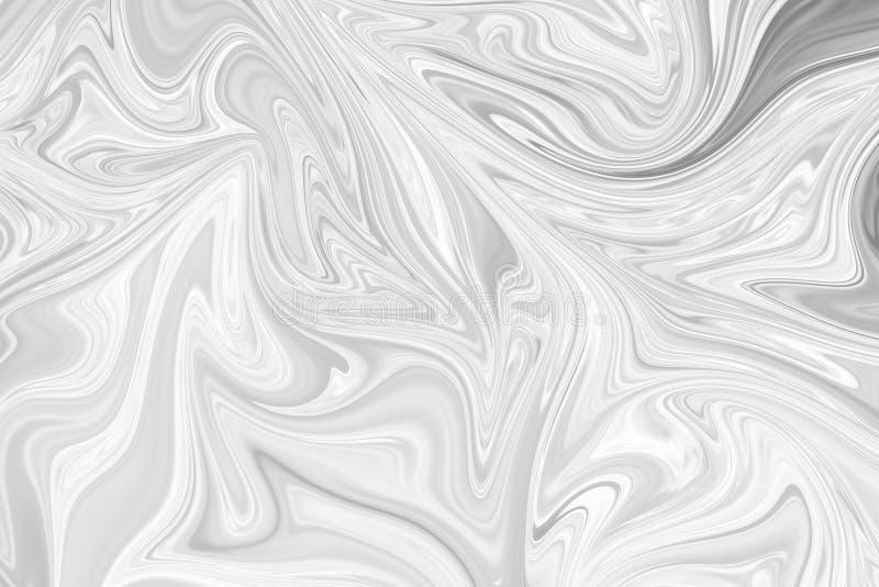 摘要灰色黑白大理石墨水样式背景 液化与黑,白色,灰色图表的抽象样式上色艺术 库存照片