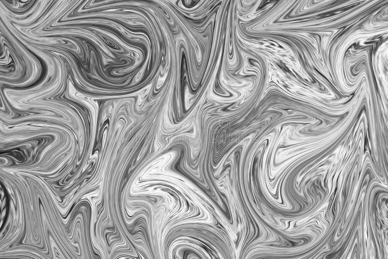 摘要灰色黑白大理石墨水样式背景 液化与黑,白色,灰色图表的抽象样式上色艺术 向量例证