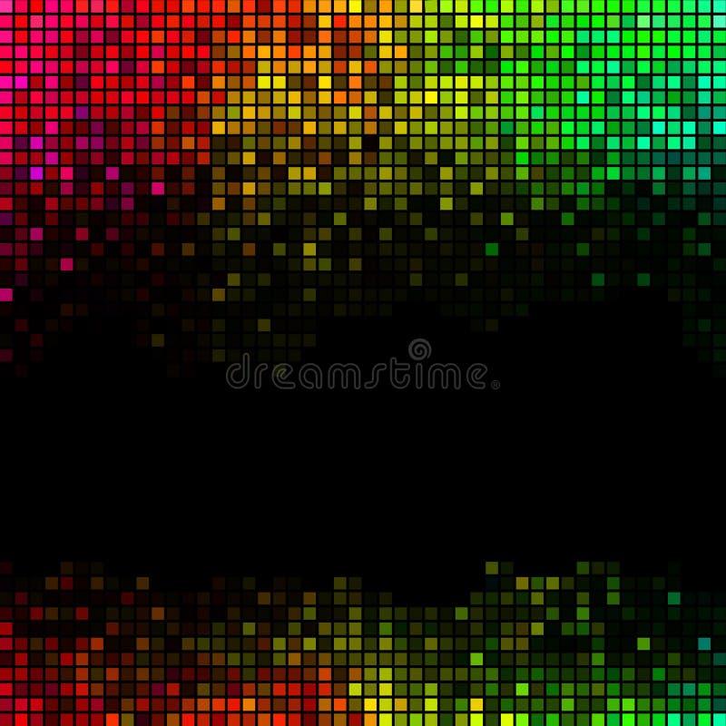 摘要点燃迪斯科背景 多色方形的映象点马赛克 向量例证