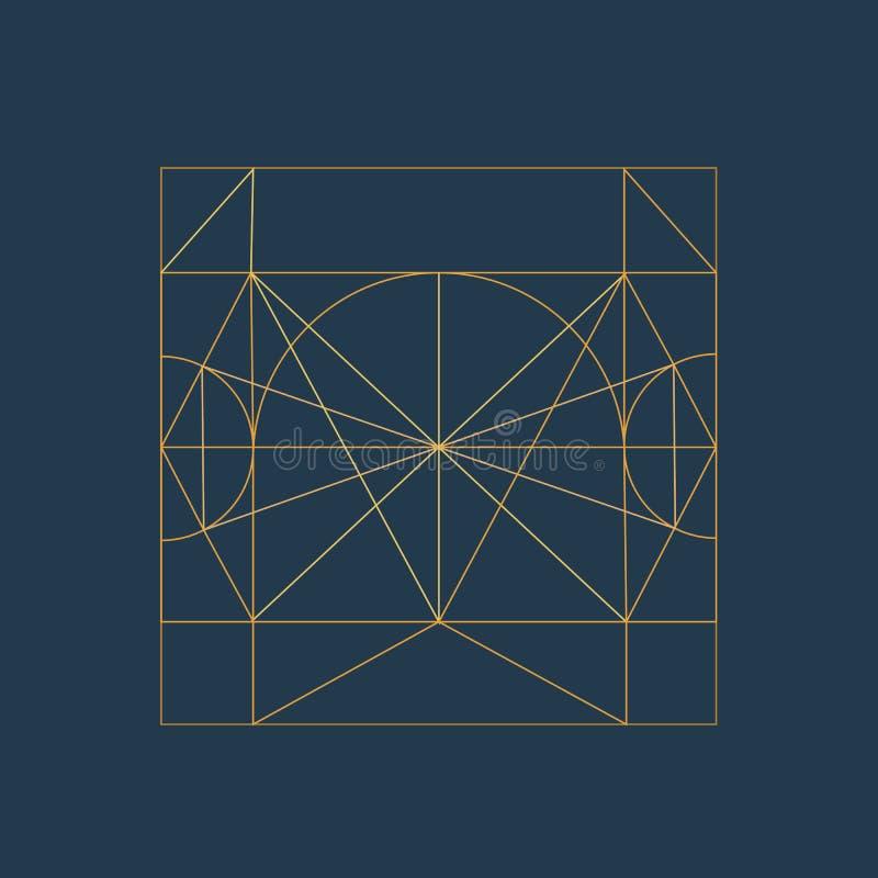 摘要现代几何构成 金黄几何框架 皇族释放例证