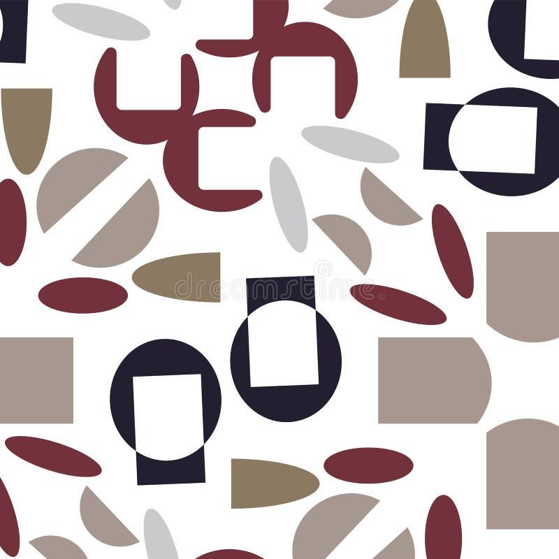 摘要现代米黄,红色和靛蓝seameless样式 库存例证