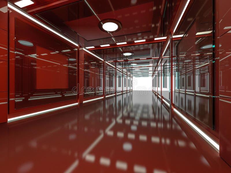 摘要现代红色建筑学背景 3d翻译 向量例证
