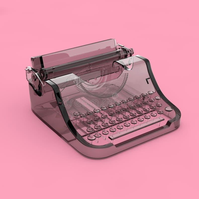 摘要玻璃老葡萄酒减速火箭的打字机 3d翻译 库存例证
