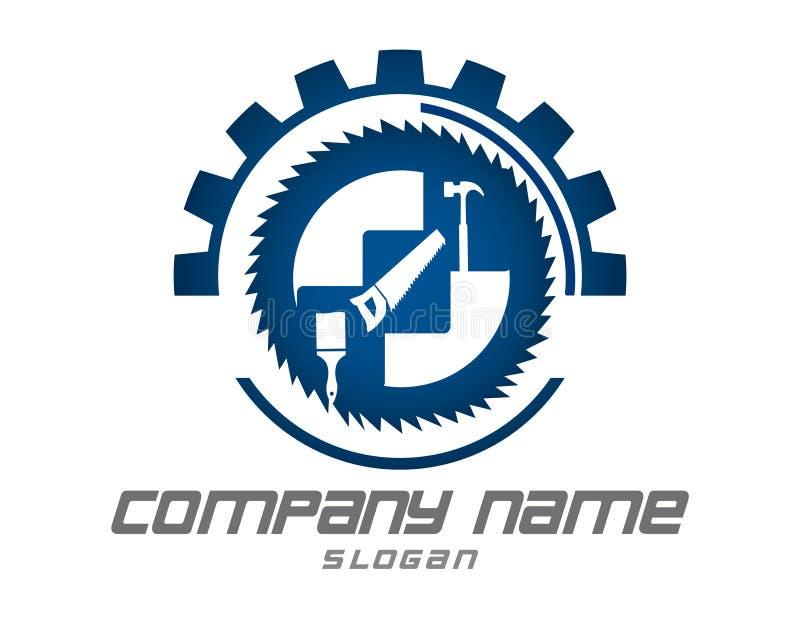 摘要用工具加工在白色背景的商标 库存例证