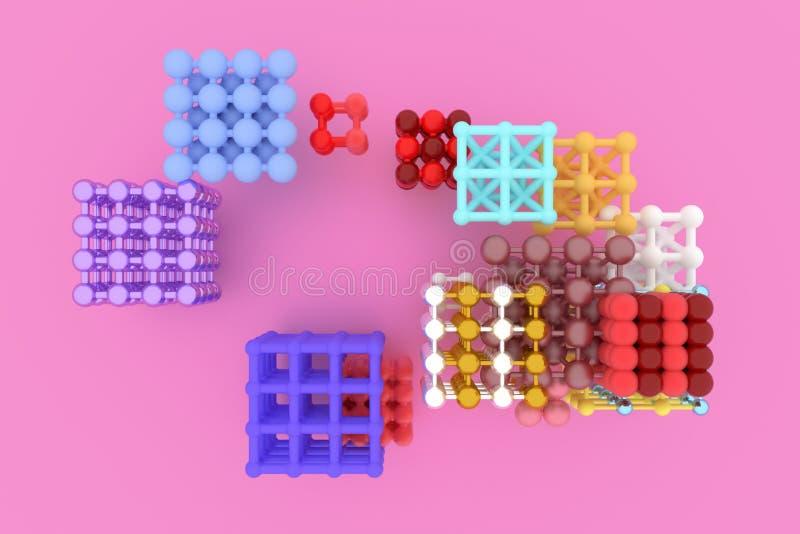 摘要真正几何,分子样式concepture被连结的正方形或金字塔 图形设计的墙纸 3d回报 皇族释放例证