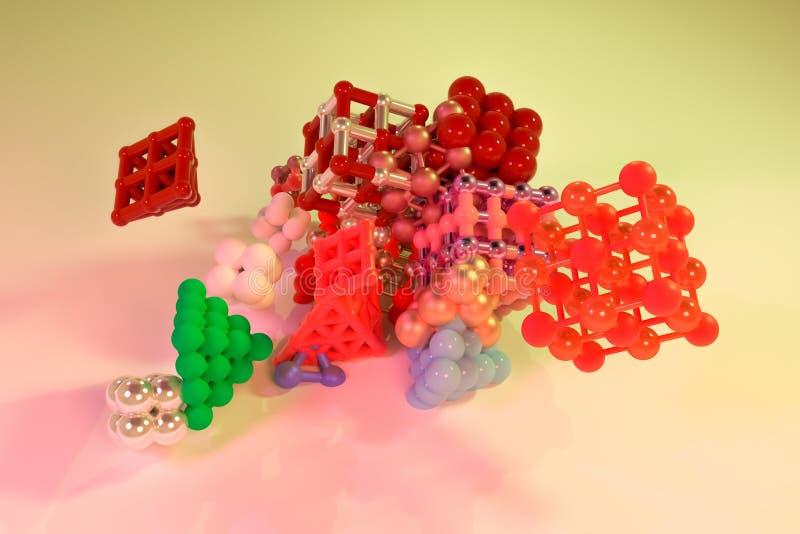 摘要真正几何,分子样式concepture被连结的正方形或金字塔 图形设计的墙纸 3d回报 库存例证