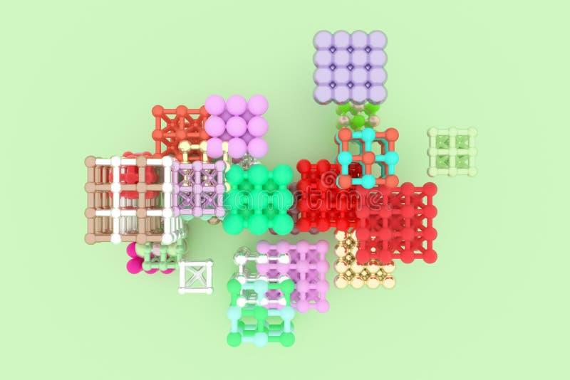 摘要真正几何,分子样式concepture被连结的正方形或金字塔 图形设计的墙纸 3d回报 向量例证