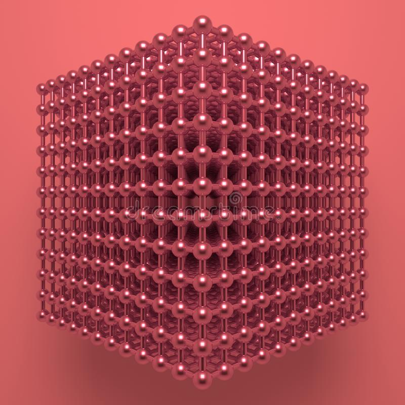 摘要真正几何,分子样式concepture被连结的球形 图形设计的墙纸 3d?? 皇族释放例证