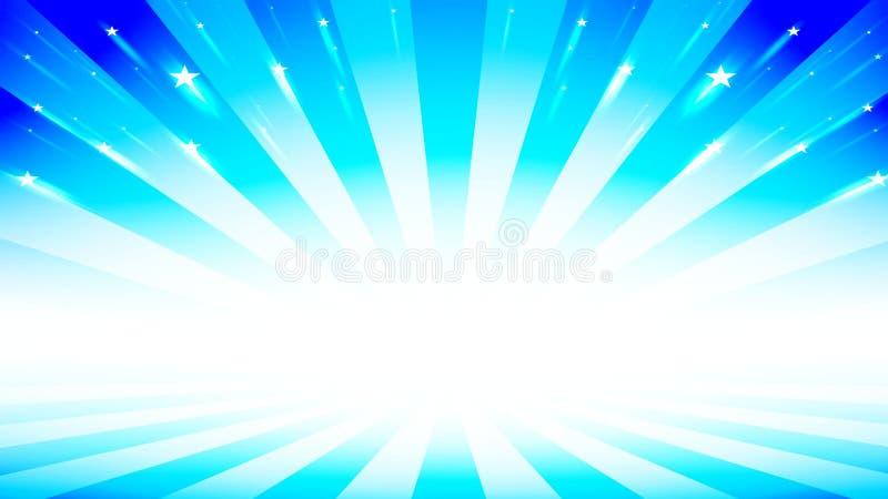 摘要破裂了与蓝色淡色和星的背景 皇族释放例证