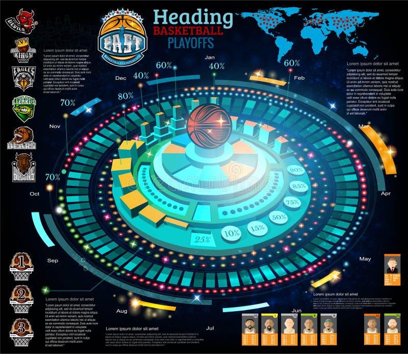 摘要篮球infographic在电脑游戏样式 导航与信息的蓝色背景 皇族释放例证