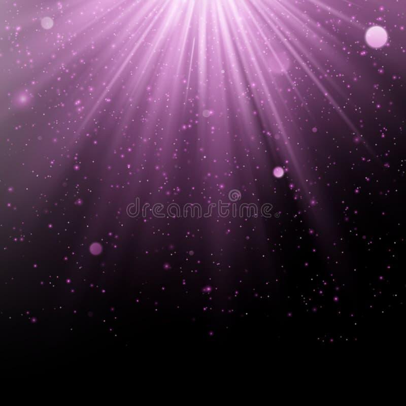 摘要紫色躺在的作用 淡光的对象有光芒背景 焕发轻跌倒和轻的火光 向量例证