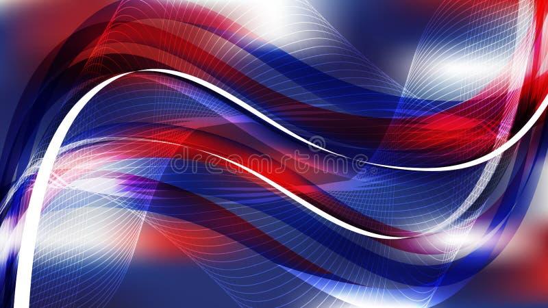 摘要红白和蓝流曲线背景 皇族释放例证