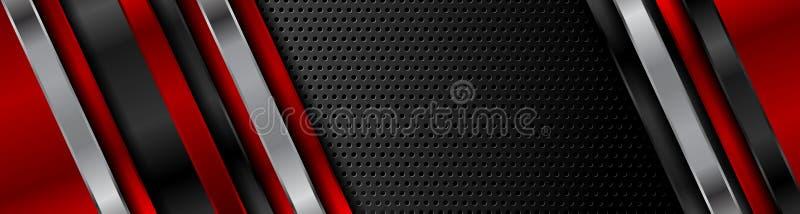 摘要红色黑技术网横幅设计 库存例证