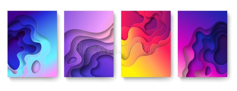 摘要纸被削减的背景 保险开关可变的形状,颜色梯度层数 削减纸艺术 紫色雕刻的3d传染媒介 向量例证