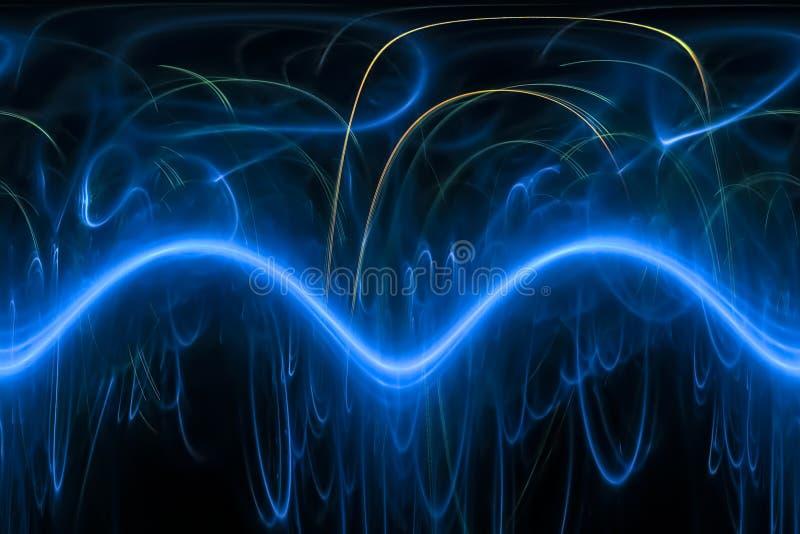 摘要纹理数字分数维能量宇宙不可思议的躺在的幻想波浪设计烟花 库存例证