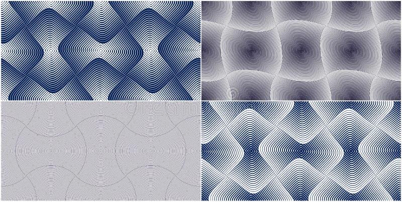 摘要线被设置的几何无缝的样式,传染媒介重复不尽的织品背景收藏 被环绕的重叠的正方形 向量例证